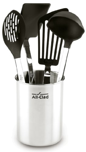 All-Clad K040S564 Scratch & Heat-Resistant Nylon Tools with Stainless Steel Handles and Caddy, 5-Piece