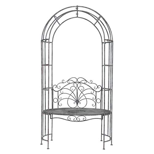 YICOL Rose Arch with Bench Garden Patio Arbour Pergola Plant Climbing Support,Vintage Black