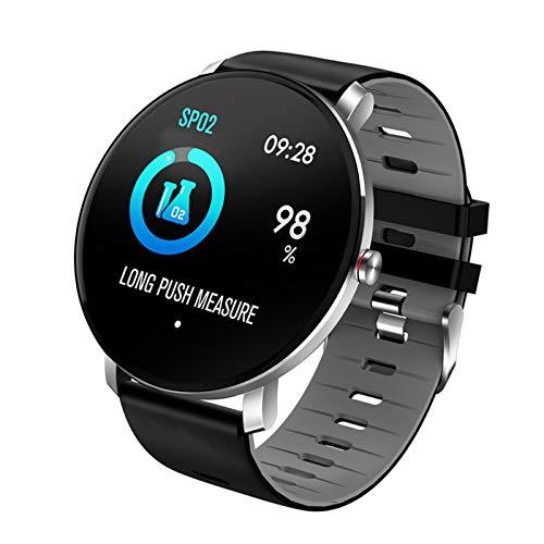 Pulsera Inteligente De Calorías Con Monitorización De Frecuencia Cardíaca/Presión Arterial/Oxígeno En Sangre,Reloj Deportivo Inteligente,IPS De 1.3 Pulgadas Táctil 2.5D,BLE 4.0,IP68,Black-Gray