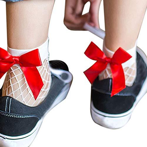 OHQ Damen Netzstrumpfhose Frauen Netzsocken Mesh-Spitze Strümpfe Fischnetz Netzstrümpfe Fisch-Netz Kurze Rüschen Fischnetz Knöchel Hohe Socken Sockenmit Schleife Söckchen Netz Socken Ankle Socks