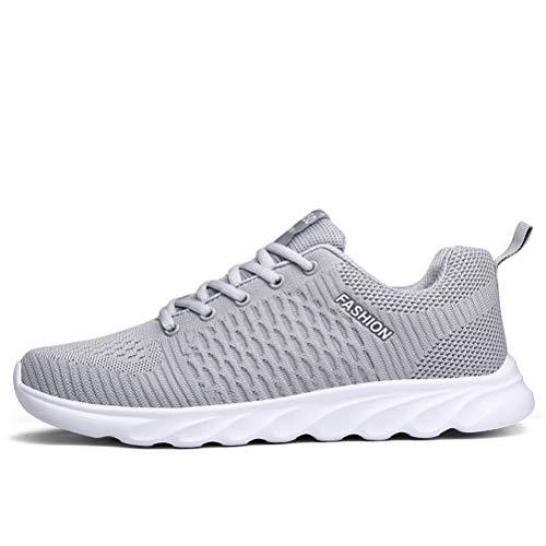 XIDISO Laufschuhe Dämpfung rutschfeste Atmungsaktiv Sportschuhe Outdoor Turnschuhe Leichte Sneaker Atmungsaktive Unisex, Grau, 45 EU