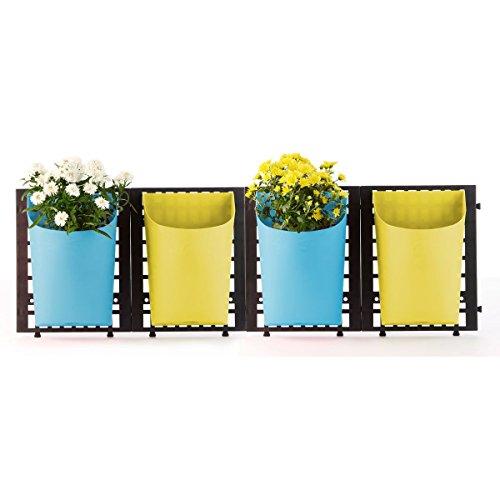 greemotion Wand-Pflanztöpfe in Gelb/Blau, Wand-Blumentopf horizontal, Wandpflanztopf eckig, Blumentopfhalter Kunststoff, Pflanztopf frostsicher, Pflanzgefäß zum Hängen