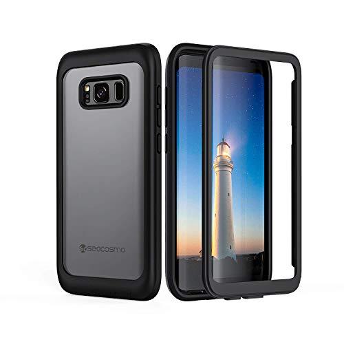 seacosmo Galaxy S8 Plus Cover, 360 Gradi Rugged Custodia Samsung S8+ Plus Antiurto Trasparente Case con Protezione Integrata dello Schermo, Nero