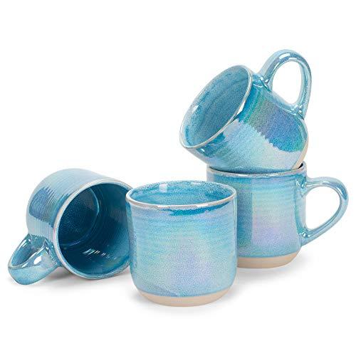 Blue Glossy Rainbow Glaze 17 ounce Stoneware Coffee Cup Mugs Set of 4