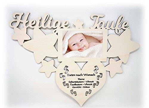 Geschenk zur Taufe Bilderrahmen mit Namen und Geburtsdaten - Heilige Baby Geschenke Taufgeschenke Junge Mädchen