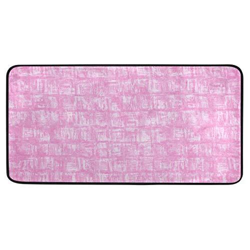 Vipsa Teppichläufer, rechteckig, Polyester, rutschfest, 99 x 51 cm, Rosa Stuckmuster