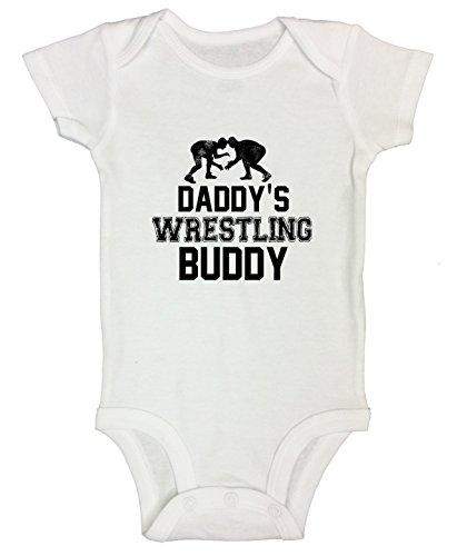 "Funny Threadz Kids Funny Boy Onesie Bodysuit ""Daddy Wrestling Buddy"" Gift for Daddy 0-3 Months, White"