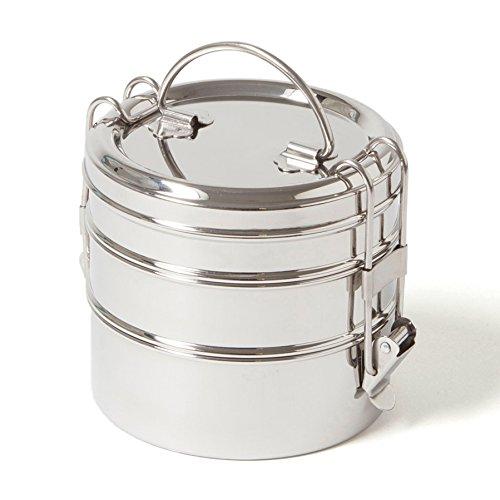 ECO Brotbox | Tiffin Swing | runde Lunchbox aus Edelstahl mit 3 Lagen, auslaufsicher | 1200 ml