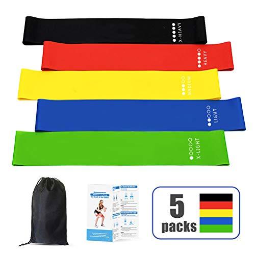 Yoga Widerstandsbänder Premium Latex Stretch Übungsband Knöchelgewichte Workout Fitness Gym Yoga Pilates Krafttraining Bänder Für Beine Und Gesäß [5-Teiliges Set]