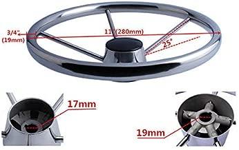Marinebaby 5-Spoke 11 Inch Destroyer Style Stainless Boat Steering Wheel