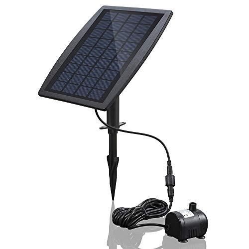 Decdeal Bürstenlose Solar Teichpumpe Solar-Brunnen Wasserpumpe mit Solarpanel 9V 2.5W 200L / H