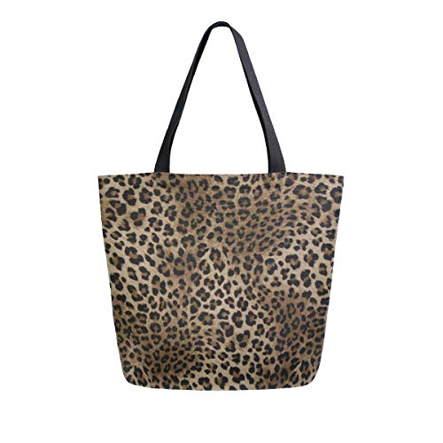 Naanle Animal Print Canvas Tote Bag Large Women Casual Shoulder Bag Handbag, Leopard Print Reusable Multipurpose Heavy Duty Shopping Grocery Cotton Bag for Outdoors