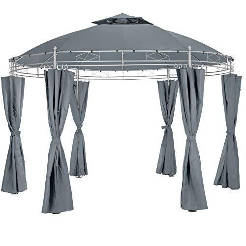 tectake 800723 Gartenpavillon rund Ø 3,5m, wasserabweisend, Pavillon Festzelt inkl. Seitenteile und Befestigungsmaterial (Anthrazit)