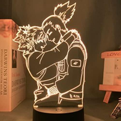 Naruto Sasuke Itachi Bros Night Light Illusion 3D DIRIGIÓ Lámpara De Mesa para Dormitorio Decoración Mood Sleep Light Boys Fiesta Regalo De Cumpleaños para Juguetes para Niños para Adolescentes