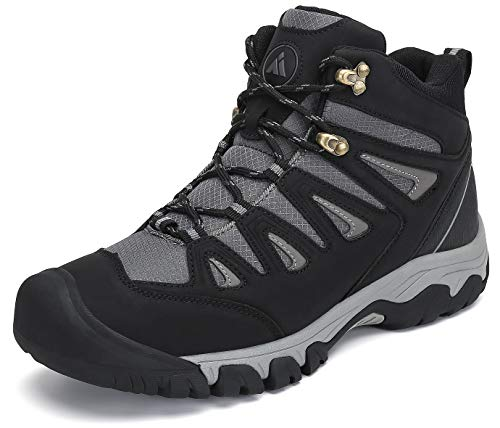 Mishansha Wanderschuhe für Herren rutschfeste Trekkingschuhe Leichte Mesh Leder Wanderhalbschuhe Winterschuhe Trekking Stiefel,Schwarz,43 EU