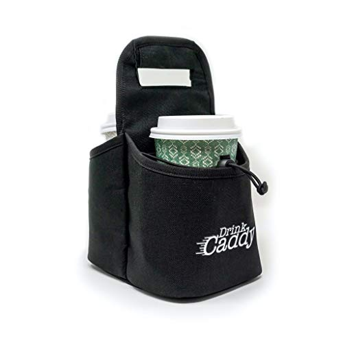 Drink Caddy Portable Drink Carrier and Reusable Coffee Cup Holder - 2 Cup Collapsible Tote Bag with Organizer Pockets Safely Secures Hot and Cold Beverages - Perfect for Food Delivery and Take Out