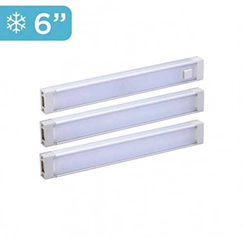 "BLACK+DECKER LED Under Cabinet Lighting Kit, Cool White, Stick up Design, 3-Bars, 6"" Each (LEDUC6-3CK), 6'"
