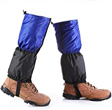 BeesClover Waterproof Snowproof Outdoor Hiking Walking Gaiters Climbing Hunting Snow Legging Leg Cover Wraps 1 Pair Blue and Black