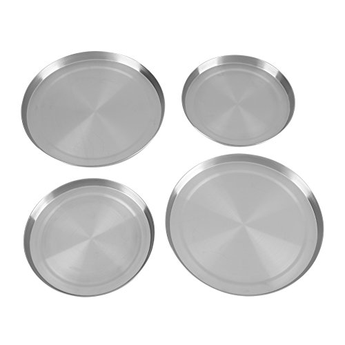 Abdeckplatten-Set, 4 x Abdeckplatten in Silber mit 2 x 21cm und 2 x 17cm Brennerabdeckungen, Herdabdeckplatten, Abdeckungen für Elektroherde
