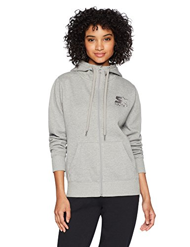 Starter Women's Standard Full-Zip Logo Hoodie with Solid Rib, vapor grey heather, Medium
