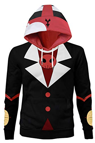 lancoszp Unisexo Disfraz de Cosplay de Blitzo Carnaval Halloween Adulto Hell Boss Pull-Over Chaqueta Sudadera con Capucha Estampada, XL