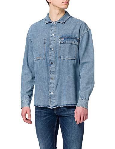 Tommy Jeans TJM Stone Wash Denim Overshirt Camisa, Tela vaquera lavado a piedra, L para Hombre