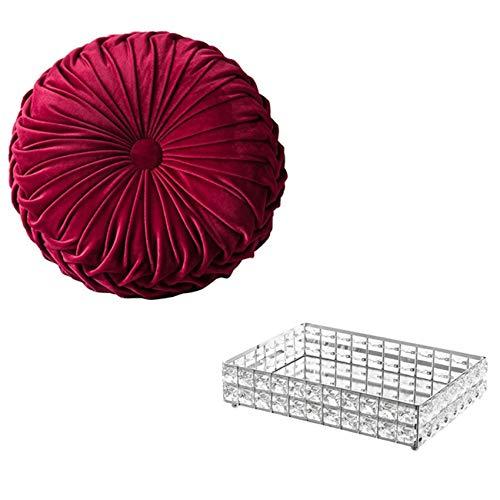 Cuasting Almohada redonda de terciopelo hecho a mano (rojo) y superficie de espejo cristal vanidad bandeja de maquillaje (plata)