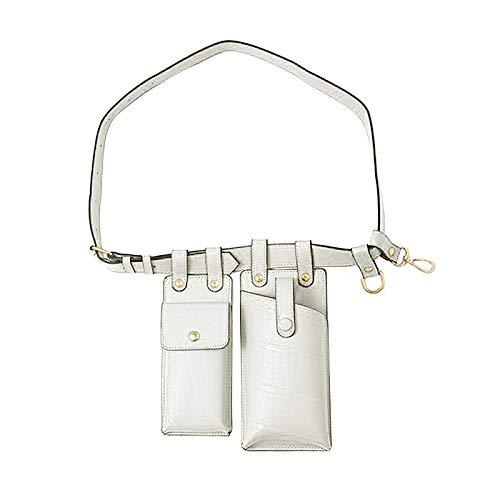FITYLE Vrouwen Heuptas Drop Been Dames Lederen Schoudertas Crossbody Streetwear Riem Bum Bag Telefoon Pouch Fanny Pack Borst Purse luxe Hip Pocket - Wit
