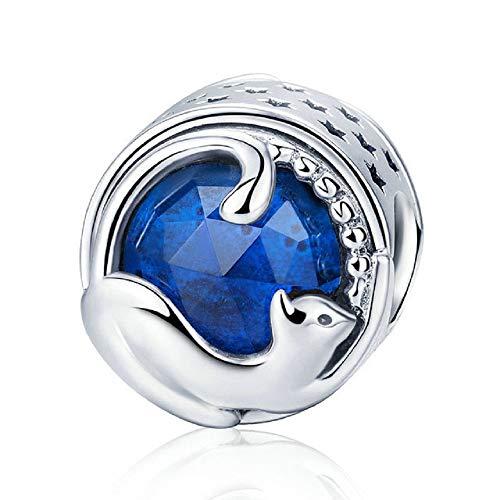 Desconocido JCaleydo - Gatto blu in argento Sterling 925 con *scatola regalo * compatibile con bracciale Pandora
