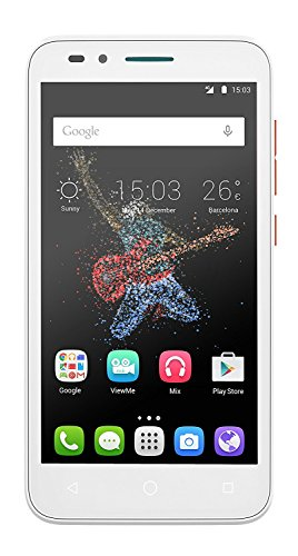 Alcatel Go Play (7048X),Smartphone débloqué 4G (Ecran : 5 Pouces - 4 Go - 1 Go RAM - Waterproof IP67 - Android Lollipop 5.0.2) Blanc/Orange