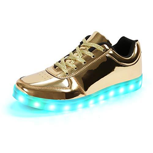 Padgene Unisex Zapatillas LED para Hombre Mujere con Luces (7 Colores) USB Carga Zapatos de Deporte (Dorado, 40EU)
