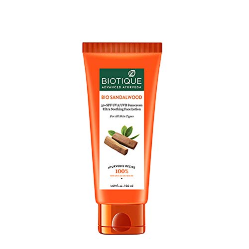 BIO SANDALWOOD 50+SPF SUNSCREEN ULTRA SOOTHING FACE LOTION FOR ALL SKIN TYPES(Ship from India)