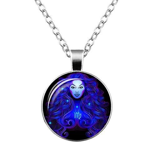 Accesorios 12 Signo del Zodiaco Constelación Diseño Collar Horóscopo Astrología Colgante for Las Mujeres de los Hombres de Cristal cabujón Regalo (Metal Color : Virgo)