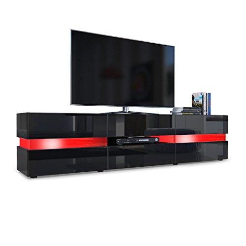 Vladon TV Board Lowboard Flow, Korpus in Schwarz Hochglanz/Front in Schwarz Hochglanz inkl. LED Beleuchtung