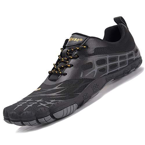 JACKSHIBO Zapatos descalzos para mujer y hombre, de secado rápido, antideslizantes, para baño, trail o fitness, tallas 36-48, color Negro, talla 42 EU