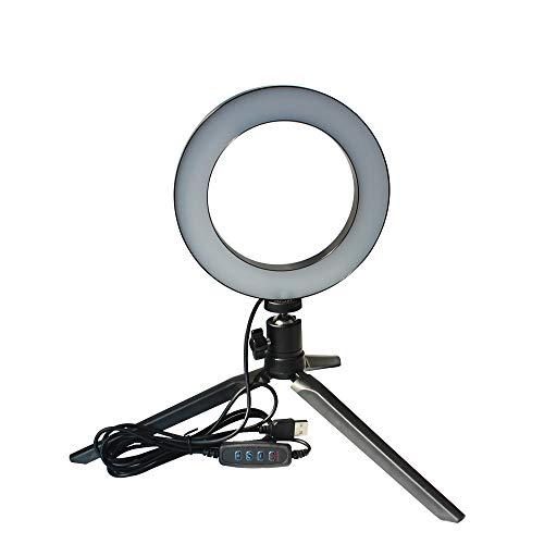 DC5V 5W LED lichtronde selfie-camera lamp met mini-statief USB-voeding 10 standen instelbaar helderheid instelbaar dimbaar/kleurtemperatuurverandering/360 ° draaibare lichthoek voor