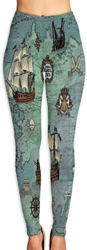 Anchor Sailor Náutico Pirate Map Leggings Estampados en 3D para Mujer Entrenamiento de Yoga Suave Running Biker Mallas elásticas Leggings con Estampado Suave-M