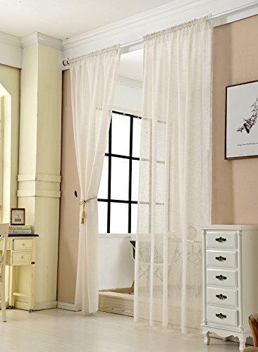WOLTU® VH5859cm-2, 2er Set Gardinen transparent mit Kräuselband Leinen Optik, Doppelpack Vorhang Stores Voile Fensterschal Dekoschal für Wohnzimmer Kinderzimmer Schlafzimmer, 140x245 cm, Crème