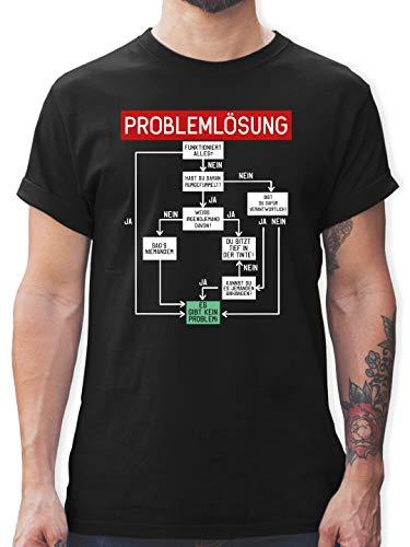 Sprüche Statement mit Spruch - Problemlösung - M - Schwarz - männer Spruch Elektriker - L190 - Tshirt Herren und Männer T-Shirts