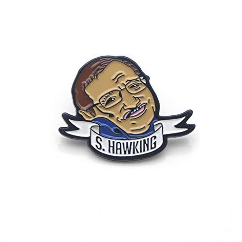 niumanery Broche esmaltado Stephen Hawking Figuras broche de lapela Astronomia Memorial Joias Presentes