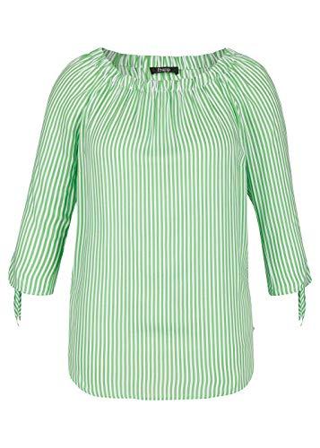 Frapp Damen Sommerliche Carmen-Bluse mit Allover-Streifen