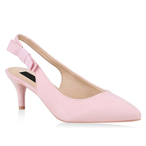 stiefelparadies Damen Pumps Slingpumps Veloursleder-Optik Stiletto Party Mid Heels 153775 Rosa 37 Flandell