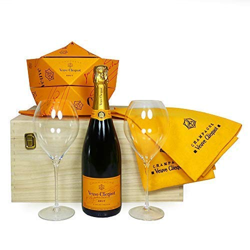 Veuve Clicquot Brut Champagne 75cl With Veuve Clicquot Glasses, Folding Ice Bucket and Napkins - Presented in a Wooden Box - Ideas for Christmas, Birthday, Anniversary, and Business