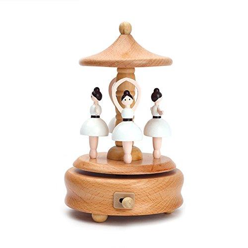 caja de música de madera con el castillo de la bailarina en el cielo, caja musical para niñas, niños, niños, juguete, regalo del día de San Valentín