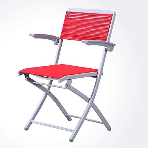 Chaise Fauteuil Siège Chaises Chair avec Accoudoirs Confortable, Gain De Place Sangles Élastiques en Caoutchouc Force Uniforme Tingting (Couleur : Red, Taille : 48 * 49 * 89cm)