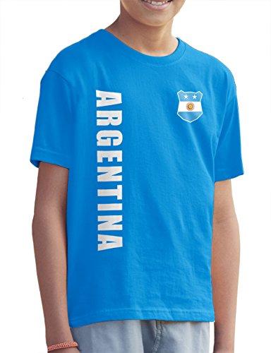 Argentinien Argentina Kinder T-Shirt Name Nr WM-2022 Trikot Azurblau 116