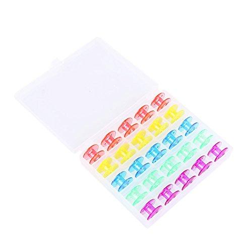 candoran 25Pcs plástico Bobinas de Máquina de coser Bobinas para Brother Singer Janome Elna con una caja de plástico