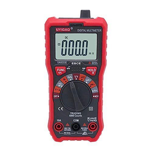 WY-YAN Multímetro digital portátil de alta precisión pantalla digital multímetro electricista reparación de electrodomésticos con la abrazadera del condensador Preciso