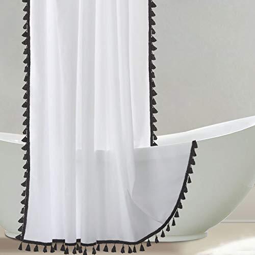 Uphome Weißer Stall Duschvorhang mit schwarzer Quaste 36 x 72 Boho Stoff Badvorhang Chic Vintage Tuch Duschvorhang Set mit Haken Robust & Wasserdicht Badezimmer Dekor