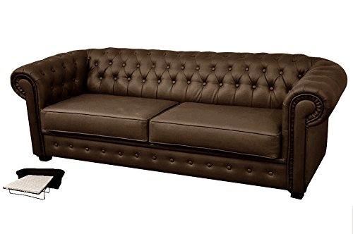 Chesterfield Style Venus Sofa Bed 3 Seater 2 Seater Black Cream Brown Red Faux Leather (3 Seater, Brown)